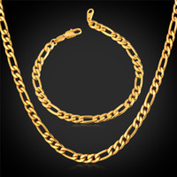 Barato Braceletes Masculinos Reais-New Trendy Figaro Chain Stainless Steel Necklace Sets 18K Real Gold Plated Chunky Necklace / Bracelet Men Jewelry YS226