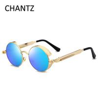 Wholesale Wholesale Steampunk Glasses - Vintage Steampunk Sunglasses Women Men 2017 Brand Round Mirror Sun Glasses for Driver UV400 Oculos Masculino De Sol Feminina