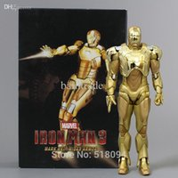 Wholesale Ironman Action Figures - Wholesale-New Arrival Super Hero Iron Man Mark XXI Golden Armor Action Figure NECA Ironman Free Shipping HRFG291