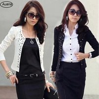 Wholesale Suit Jacket White For Woman - 2016 Korean Hot Fashion Lady Women's Black Suit Jacket Rhinestone Rivet Puff Long Sleeve Thin Short Coat for Spring Autumn