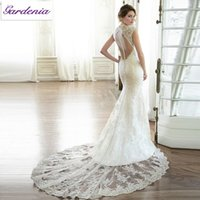Wholesale Sexy Glamourous Wedding Dresses - Glamourous V-neck Cap Sleeves Vestidos De Noiva 2016 See Through Buttons Covered Backless Sexy Lace Mermaid Wedding Dress