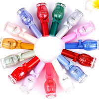 Wholesale Nail Polish Smell - New Brand Wine Bottle Water Base Peel Off Nail Polish Smell Faint Fragrance Nail Lacquer Pure Sweet Colors Enamel Paint Free Shipping