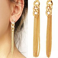 Femmes Trendy New Chunky Chain Pierced Earrings Multi Goldend Chain Tassel Ear Stud Fancy Jewelry Wholesale 12 Pairs