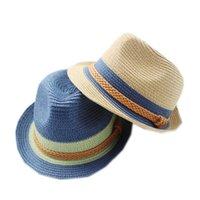 Wholesale Small Brim Hats Men - Wholesale-Sun Hat Straw Beach Headwear Cap Bohemia Wide Large Brim Korean factory direct cool summer along the hat small British female gr