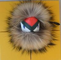 Wholesale Coin Cart - Black leather wallet Pom Pom real fox fur raccoon fur monster 15-20cm doll keychain charm golf cart bag pendant strap