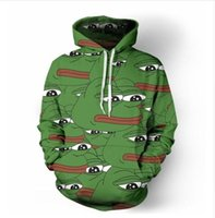 büyük kapüşonlu erkekler toptan satış-2017 Sonbahar kış Erkekler Kadınlar yeni Moda 3D Hoodies Büyük ağız kurbağa baskı rahat Hoody Komik Kazak XK111