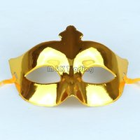 Wholesale Cheap Gold Masquerade Masks - Cheap Masquerade Mask Solid Colors Gold Mask For Women And Ladies Electroplate Shining Mask Carnival Party Mix