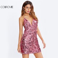 COLROVIE Racerback Sequin Club Dress Slim Women Pink Sexy Cami Summer Party Dresses 2017 Fashion New V Шея Bodycon Mini Dress q1113