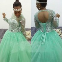 Wholesale Long Puffy Corset Dresses - Sparkly Ball Gown Prom Dress Mint Green Puffy Tulle Sheer Jewel Neck Long Sleeves Prom Dresses Corset Evening Gown Sweep Train