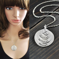 Wholesale Engraved Necklace Name - Personalized Layered Stylish stack disc name necklace,engrave necklace, alloy pendent,engraved family member names, custom mother necklace