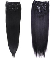 Wholesale Best Quality g quot quot quot clip in hair extensions Indian Remy human hair natural black straight clip in Hair