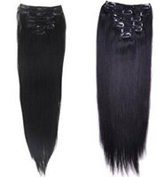 """Wholesale Best Remy Hair Extensions - Best Quality 180g 18"""" 20"""" 22"""" clip in hair extensions Indian Remy human hair natural black straight clip-in Hair"""