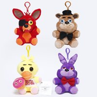Wholesale Bear Bag Gift - 4pcs set 15-18cm Five Nights at Freddy FNAF Fox Bear Bonnie Toys Plush Pendants Keychains Dolls with Gift Bag