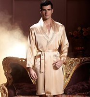 Wholesale Male Night - 2017 free shipping spring and autumn night robe male silk satin nightgown pyjamas 7222