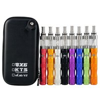 Wholesale Kts Kit E Cigarette - X6 V2 KTS Starter Kit with 1300mAh Variable Voltage X6 Battery 2.5ml V2 atomizer KTS zipper case e cigarette kits