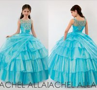Wholesale Cute Lovely Images - 2015 Cute Little Girls Pageant Dresses Ball gown Organza Sparkle Crystals Lovely Princess Flower Girls Dress Hot sale