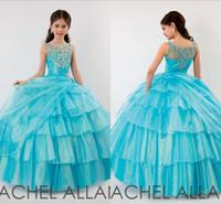 Wholesale Sparkle Royal Blue Dress - 2015 Cute Little Girls Pageant Dresses Ball gown Organza Sparkle Crystals Lovely Princess Flower Girls Dress Hot sale
