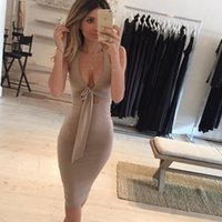 Atacado- Moda feminina Brand New Sem mangas Hollow Out Tie Knot Sexy Halter Club Nightclub Party Casual Bainha Bodycon Vestido Midi