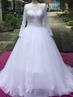 Wholesale Crystal Neck Tie - 2015 Long Illusion Sleeves Ball Gown Wedding Dresses Tulle Appliques Princess New Design Bridal W1465 See Through Romantic Tie Up Open Back