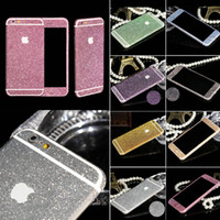 glitzer apfel aufkleber großhandel-Großhandels-Neuer Ankunfts-voller Körper-Glitter für iPhone 5 5S glänzendes Telefon-Aufkleber-Kasten-Goldfunkelnde Diamant-Film-Abziehbild-Mattschirm-Schutz