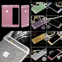 Wholesale apple diamond sticker resale online - New Arrival Full Body Glitter for iPhone S Shiny Phone Sticker Case Gold Sparkling Diamond Film Decals Matte Screen Protector