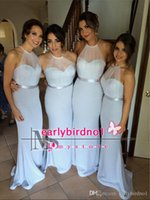 Wholesale Halter Back Wedding Gowns Chiffon - Cheap Chiffon Bridesmaid Dresses 2016 Long Mermaid Sexy Back Spring Maid of Honor Gowns Trumpet Wedding Party Gowns BO8844