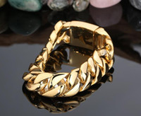 Wholesale Wide Gold Plated Mens Bracelet - 17MM Wide Men Fashion Brand Gold Titanium steel bangle Jewelry Gold Filled Snail Link Chain Mens 316L Stainless Steel Bracelets