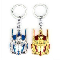 Wholesale Optimus Prime Face Mask - Trendy Jewelry Silver Plated Alloy Movie robot mask KeyChain children Autobots Key Chain man Optimus Prime Key Ring Pendant 2017 y046