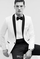 Slim Fit Navy White Business Groom Tuxedos Color Butyl Process Shaw Lapel Groomsmen 2016 Мужские свадебные костюмы Custom Made Classic
