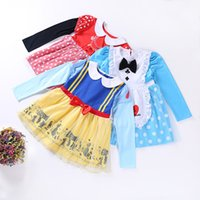 Wholesale Alice Queen Costume - New Girl Dress Toddler Girls Clothes Long Sleeve Lace Cotton Princess Anna Bib Alice Snow Queen Halloween Christmas Party Costume A7758
