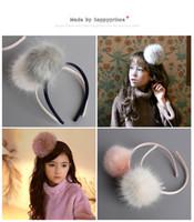 acessórios de pele falsificados venda por atacado-Dia das crianças varas de cabelo boutique meninas falso pele de coelho grande pompon headwear moda novas crianças pageant princesa acessórios de cabelo R1180