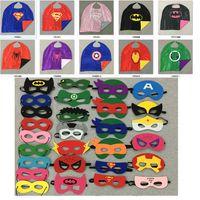 Wholesale Kids Comic Book - Children's Poncho Capes Superhero Comic Book Hero Cape + Mask Sets Kids Fancy Costume Outfit Super Hero Costume for Children Free Ship DHL