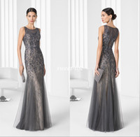 Wholesale Mother Bride Lace Tulle Dress - 2016 Grey Vintage Long Mother of the Bride Dresses Lace Beading Mermaid Jewel Sleeveless Wedding Party Mother Gowns Luxury Evening Dresses