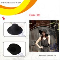 Wholesale-Wollmischung Weicher Filz Crushable Sommer Sun Beach Wide Brim Floppy Ladies Hat Retro Sonnenhüte Sombrero para el sol