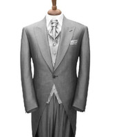 Wholesale Grey Bespoke Tuxedo - CUSTOM MADE TO MEASURE GREY TAILCOAT,BESPOKE GROOM WEDDING TUXEDOS FOR MEN, TAILORED MEN SUITS FOR BESTMAN, GROOM SUIT 2014,LONG TAIL TUXEDO