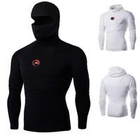 langarmshirt drache großhandel-Super elastische Männer T-Shirts ninja Kleidung Männer, Kapuzen-Maske Kung fu Kleidung Männer, Langarm-T-Shirt Männer Maske Dragon Badge