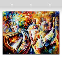 Wholesale modern palette knife online - Modern Palette Knife Painting Bottle Jazz Music Carnival Picture Printed On Canvas For Home Office Wall Decor Art
