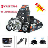 Wholesale Cree Headlamp Zoom - 3T6 Headlamp 6000 Lumens 3 x Cree XM-L T6 Head Lamp High Power LED Headlamp Head Torch Lamp Flashlight Head +charger+car charger