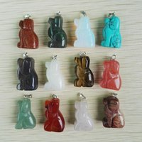 Wholesale Mixed natural stone carved dog pendants fashion good quality charm pendant for jewelry making