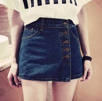 Wholesale 2015 New Slim High Waist Denim Shorts Skirts Single Breasted Package Hip Culottes Plus Size S XL Shorts Feminino FG1511