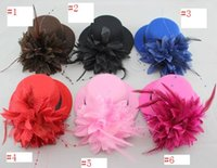 Wholesale Yellow Mini Hat - 2016 Fashion bride hat cap wedding ribbon gauze lace feather flower Mini top hats fascinator party hair clips caps millinery hair jewelry