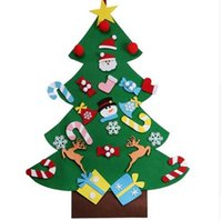 Wholesale Christmas Indoor Wall Decorations - New Year Gifts Kids DIY Felt Christmas Tree Decorations Christmas Gifts for 2018 New Year's Door Wall Hanging Ornaments