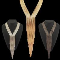 elmas yaka gece elbiseleri toptan satış-Yeni Tasarım Moda Rhinestones Zincir Yaka Kadın Abiye Takı Uzun Kolye Bildirimi Aksesuarları # 2689