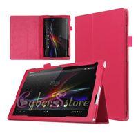 xperia vakaları toptan satış-Sony Xperia Z4 Tablet için Litchi Flip Standı Katlanır Deri Tablet Kılıf Kapak Tutucu Sony Z4 Tablet Ultra
