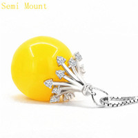 Wholesale Pendant Mounts Settings - Fine Silver Sterling Silver 925 Plated White Gold Women Crystal Charm Pendant Cyrstal Semi Mount for PEARL Round Bead 8-14mm Jewelry Setting