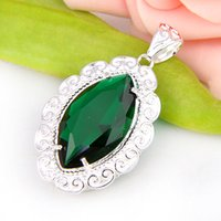 Wholesale Low Price Sterling Silver Charms - Lowest Wholesale Price 10 Pcs Fire Horse Eye Green Quartz Crystal Gems 925 Sterling Silver USA Israel Wedding Engagement Pendants Weddings