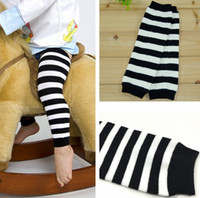 Wholesale white baby boy socks - Children Cotton Baby Leg Warmer Boys Girls Black White Wided Striped Socks Arm Warmers Baby Knitted striped Leggings Socks cheapest price