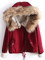 Wholesale Coat Handsome - Wholesale-New 2015 Winter Big Fur Collar Short Jacket Winter Jacket Women Handsome Warm Coat Down Fleece Lined Parka HW99JB9A