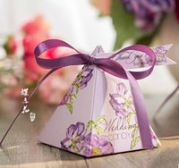 rosa pyramide geschenk-boxen großhandel-100 Stücke Europäischen stil romantische Rosa Lila Perle papier pyramide Hochzeit box Pralinenschachtel geschenk boxen hochzeit favor boxen TH141