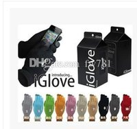 Wholesale Touch Screen Glove Cotton - Iglove Unisex Touch Screen Glove Hand Warm for iPhone smartphone 4 color,touch glove,I glove(with box package)20pcs=10pairs lot